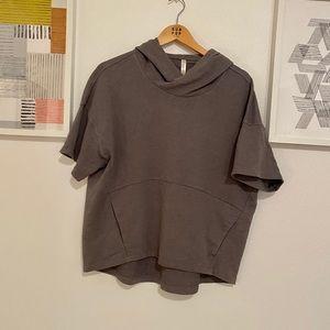 Fabletics gray hooded shirt sleeve tee shirt